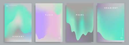 Set of poster covers with color vibrant gradient background. Çizim