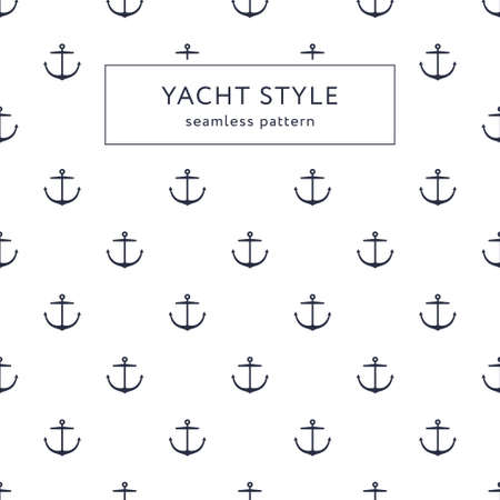 Seamless anchor navy blue pattern. Yacht style design. Vettoriali