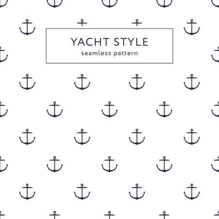 Seamless anchor navy blue pattern. Yacht style design. Иллюстрация