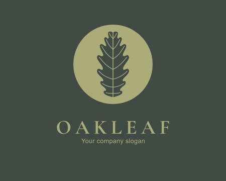 Oak leaf logo design. Silhouette creative symbol. Universal icon. Leaf sign. Simple logotype template for premium business. Vector illustration. Stock Illustratie