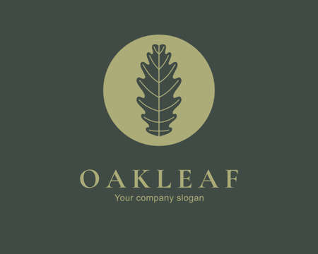 Oak leaf logo design. Silhouette creative symbol. Universal icon. Leaf sign. Simple logotype template for premium business. Vector illustration. Иллюстрация