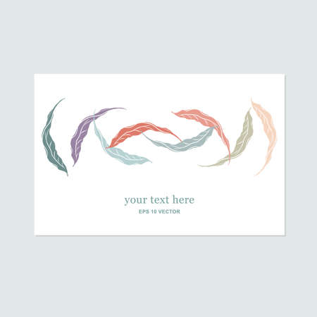 Unique gentle vector card template with decorative leaves and space for your text. Decoration for packages, greeting cards, prints, wedding invitations, leaflets, cosmetics etc. Vettoriali