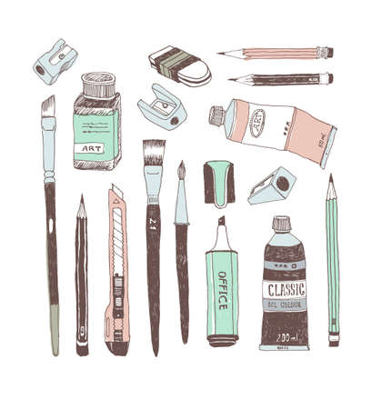 Hand drawn art tools and supplies set. Vector doodle illustration. Brush, Paintbrush, Paint tube, Sharpener, Pen, Pencil, Knife, Ink bottle, Cutter, Eraser, Rubber, Highlighter.