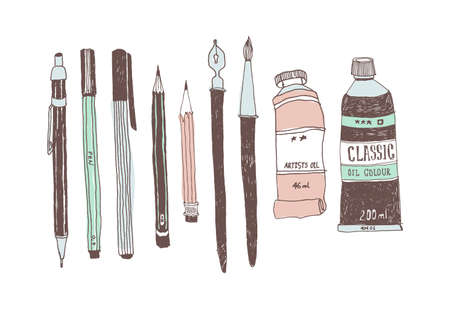 Hand drawn art tools and supplies set. Doodle style. Vector illustration. Ilustração