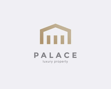 Simple line house symbol, icon. Premium logo design template for Company. Building emblem. Vector illustration. Illustration