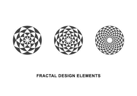 Set of Black and White Circular Fractal Design Elements. Digital flower. Vector illustration.