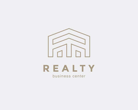 Simple line house symbol, icon. Premium logo design template for Company. Building emblem. Vector illustration. 矢量图像