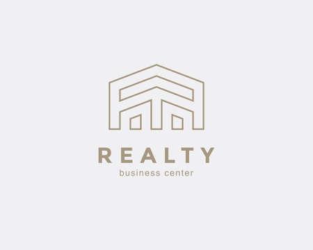 Simple line house symbol, icon. Premium logo design template for Company. Building emblem. Vector illustration. Illustration