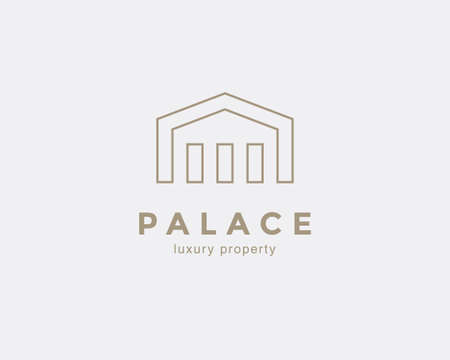 Simple line house symbol, icon. Premium logo design template for Company. Building emblem. Vector illustration. 일러스트