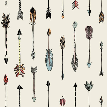 Hand drawn tribal arrows seamless patten on cream background. Vector illustration.