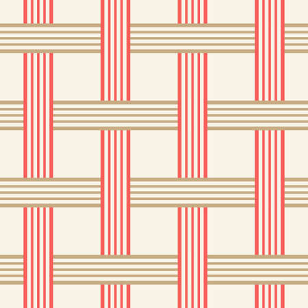 Seamless pattern with crossing lines. Golden and Red holiday collection. Merry Christmas and Happy New year. Abstract textured background design. Modern elegant wallpaper. Vector illustration.