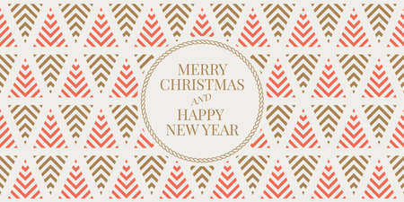 Winter holidays greeting card with seamless geometric pattern background. Merry Christmas and Happy New Year. Elegant template for postcards, invitations, banners. Vector illustration. EPS 10