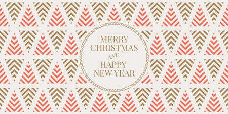 Wintervakantie wenskaart met naadloze geometrische patroon achtergrond. Vrolijk kerstfeest en een gelukkig nieuwjaar. Elegante sjabloon voor ansichtkaarten, uitnodigingen, banners. Vector illustratie. EPS 10