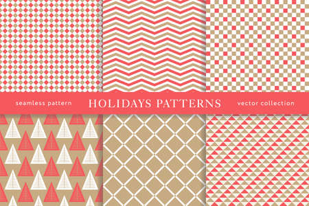 Set of winter holiday seamless patterns. Merry Christmas and Happy New Year. Collection of simple geometric textured backgrounds with red and golden colors. Vector illustration. EPS 10 Illustration