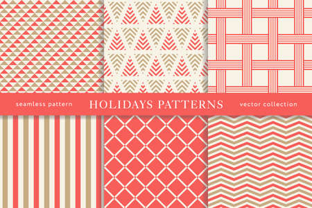 Set of winter holiday seamless patterns. Merry Christmas and Happy New Year. Collection of simple geometric textured backgrounds with red and golden colors. Vector illustration. EPS 10 Stock Vector - 105407666