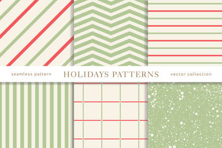 Set of winter holiday seamless patterns. Merry Christmas and Happy New Year. Collection of simple geometric textured backgrounds with red and golden colors. Vector illustration. EPS 10