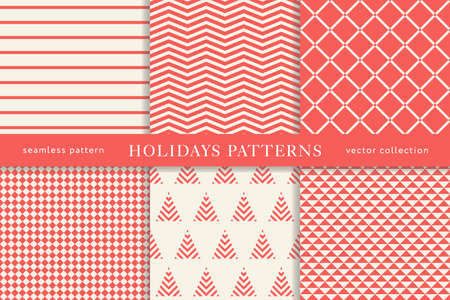 Set of winter holiday seamless patterns. Merry Christmas and Happy New Year. Collection of simple geometric textured backgrounds with red color. Vector illustration. EPS 10