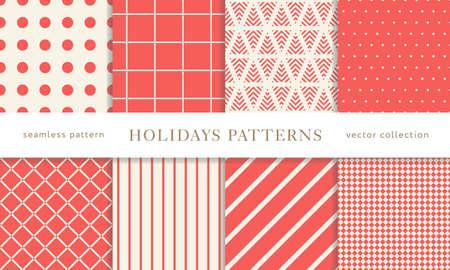 Insieme dei reticoli senza giunte di vacanza invernale. Buon Natale e Felice Anno nuovo. Raccolta di semplici sfondi geometrici con texture con colori rossi e dorati. Illustrazione vettoriale. EPS 10