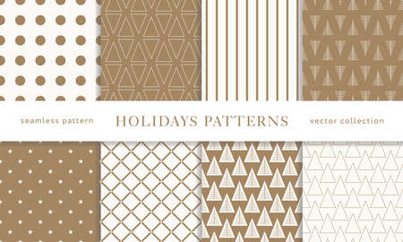 Set of winter holiday seamless patterns. Merry Christmas and Happy New Year. Collection of simple geometric textured backgrounds with golden color. Vector illustration.