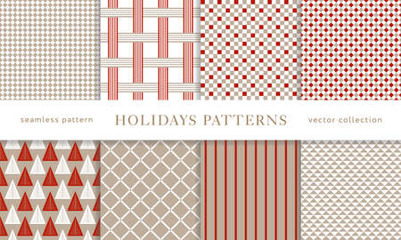 Set of winter holiday seamless patterns. Merry Christmas and Happy New Year. Collection of simple geometric textured backgrounds with red and golden colors. Vector illustration.