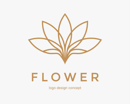 Abstract flower design. Line creative symbol. Universal icon. Lotus sign. Simple logotype template for premium business. Vector illustration. Иллюстрация