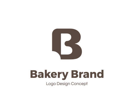 Bakery template. Letter B. Bite mark. Universal icon. Bakery shop sign. Design template for labels, badges, banners, posters, menu, identity and branding elements. Vector illustration.