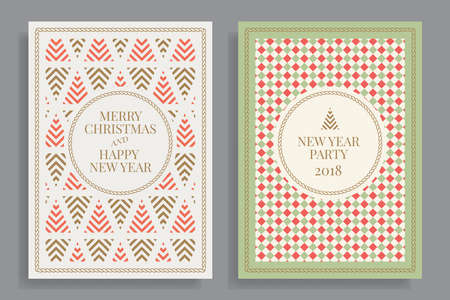 Set of winter holidays greeting cards with geometric pattern background. Merry Christmas and Happy New Year. Elegant template for postcards, invitations, posters, banners. Vector illustration. EPS 10