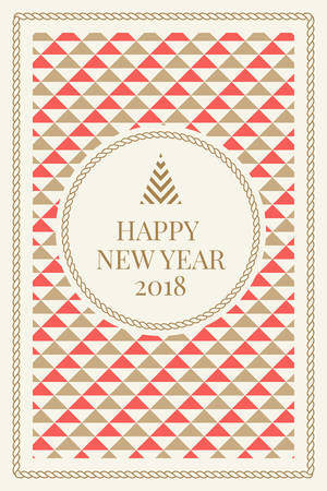 Winter holidays greeting card with geometric pattern background. Merry Christmas and Happy New Year. Elegant template for postcards, invitations, posters, banners. Vector illustration. EPS 10