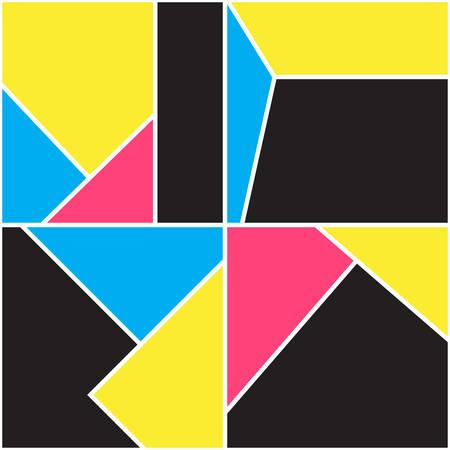 Patrones geométricos sin fisuras. Diseño de Memphis. Estilo retro de los años 80 y 90. Composición colorida para carteles, pancartas. Fondo de moda abstracta. Vector ilustración minimalista. Papel pintado moderno y elegante.