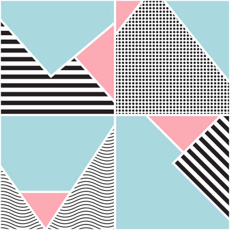 Seamless geometric pattern. Memphis design. 80s and 90s retro style. Colorful composition for posters, banners. Abstract fashion background. Vector minimalistic illustration. Modern elegant wallpaper.