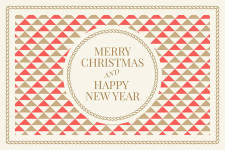 Winter holidays greeting card with geometric pattern background. Merry Christmas and Happy New Year. Elegant template for postcards, invitations, posters, banners. Vector illustration. EPS 10 Vecteurs