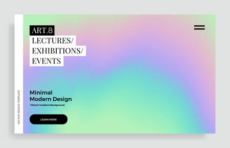 Trendy design template with vibrant gradient holographic texture. Applicable for covers, brochures, placards, posters, flyers, presentations, banners, identity. Vector illustration.