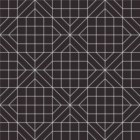 Abstract geometric seamless pattern. Black and white background design. Template for prints, wallpaper, wrapping paper, fabrics, covers, flyers, banners, posters and placards. Vector illustration. Vettoriali