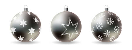 Set of 3d Christmas balls with decorative winter ornament isolated on a white background. Realistic vector illustration.