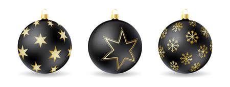 Set of Black Christmas balls with decorative winter ornament isolated on a white background. Realistic vector illustration. Иллюстрация