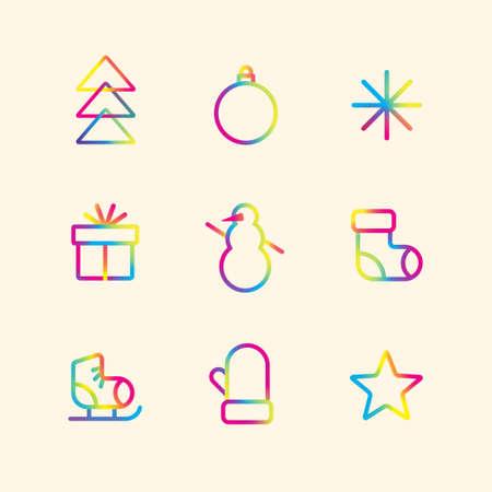 Ensemble d'icônes colorées de vacances d'hiver. Pictogrammes dégradés. Décoration de joyeux Noël et bonne année. Illustration vectorielle.