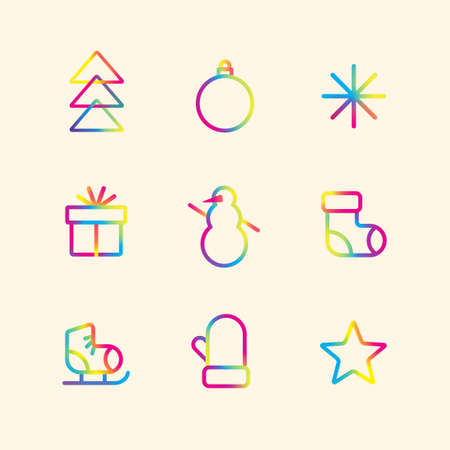 Set of colorful winter holidays icons. Gradient pictograms. Merry Christmas and Happy New Year decoration. Vector illustration.