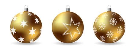 白い背景に隔離装飾冬の装飾品と3Dクリスマスボールのセット。リアルなベクトルイラスト。 ベクターイラストレーション