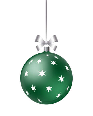 Christmas ball with ribbon and bow isolated on a white background. New Year decoration. Realistic vector illustration.
