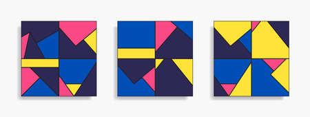 Conjunto de patrones sin fisuras con formas geométricas simples. Composición de diseño abstracto. Fondo de moda colorido. Vector ilustración minimalista. Papel pintado moderno y elegante. Ilustración de vector
