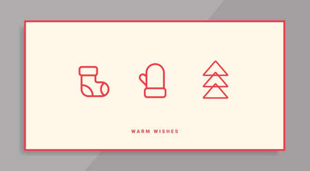 Winter holidays greeting card with line icons. Merry Christmas and Happy New Year decoration. Modern design template for postcards, flyers, invitations, posters, banners. Vector illustration. EPS 10