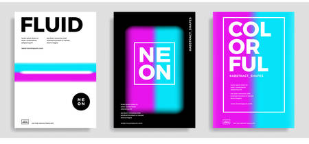 Set of trendy abstract design templates with 3d flow shapes. Dynamic gradient composition. Applicable for covers, brochures, flyers, presentations, banners. Vector illustration.