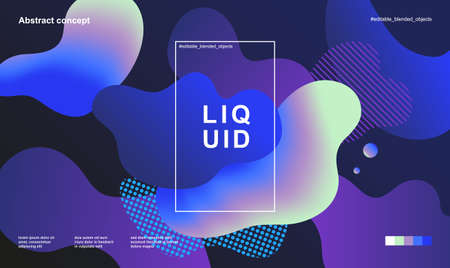 Trendy abstract design template with fluid and liquid shapes. Holographic gradient backgrounds. Applicable for covers, websites, flyers, presentations, banners.