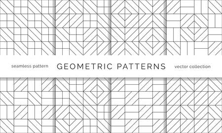 Set of abstract geometric seamless patterns. Black and white background design. Template for prints, wallpaper, wrapping paper, fabrics, covers, flyers, banners and posters.