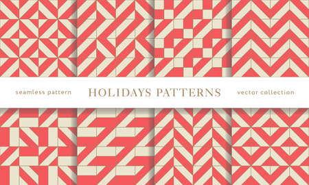Set of winter holidays seamless patterns. Merry Christmas and Happy New Year. Collection of simple geometric textured backgrounds with red and golden colors. Vector illustration. EPS 10 Vettoriali