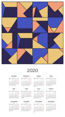 Wall Calendar 2020 with abstract colorful geometric pattern. Bright creative composition. Modern design template. Week starts on Monday.