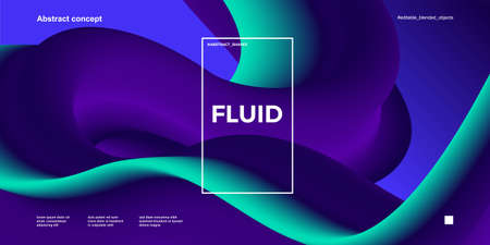 Trendy abstract design template with 3d flow shapes. Dynamic gradient composition. Applicable for landing pages, covers, brochures, flyers, presentations, banners. Vector illustration. Eps 10