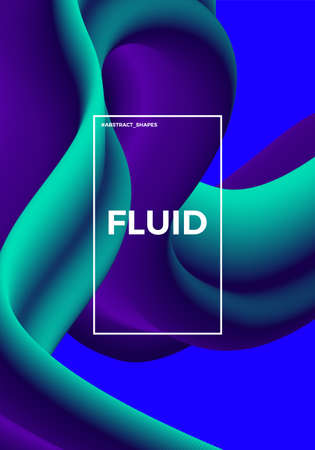 Trendy abstract design template with 3d flow shapes. Dynamic gradient composition. Applicable for covers, posters, placards, brochures, flyers, presentations, banners. Vector illustration. Eps 10 Illustration
