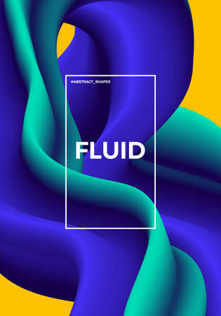 Trendy abstract design template with 3d flow shapes. Dynamic gradient composition. Applicable for covers, posters, placards, brochures, flyers, presentations, banners. Vector illustration. Eps 10