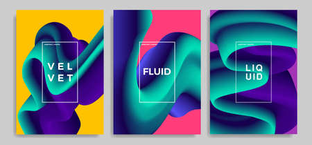 Set of trendy abstract design templates with 3d flow shapes. Dynamic gradient composition. Applicable for landing pages, covers, brochures, flyers, presentations, banners. Vector illustration. Eps 10